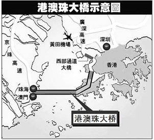港珠澳跨海大桥,连接香港大屿山 澳门半岛和广东省珠海市,全长约
