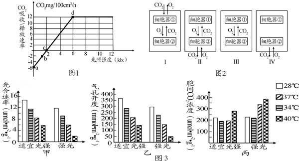 如图1表示在最适条件下测得的某植物光照强度与光合速率的关系 图2表示该植物叶肉细胞中两种细胞器在不同光 无忧题库